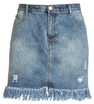 Glamorous Distressed Cotton Denim Miniskirt