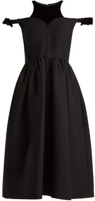 Fendi Bambolina Wool Blend Dress - Womens - Black