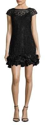 GUESS Lace Floral-Ruffle Hem Mini Dress