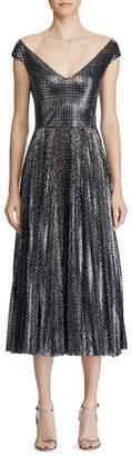 Ralph Lauren Fonda Metallic Glen-Plaid Dress