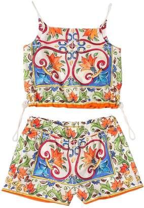 Dolce & Gabbana Maiolica Cotton Muslin Top & Shorts