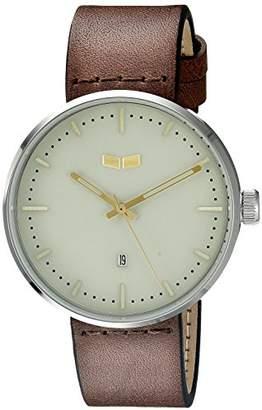 Vestal Unisex RST3L01 Roosevelt Leather Analog Display Quartz Black Watch