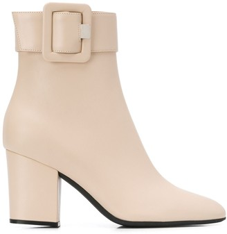 Sergio Rossi side buckle ankle boots