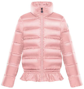Moncler Anemonet Ruffle-Hem Quilted Puffer Jacket, Size 8-14