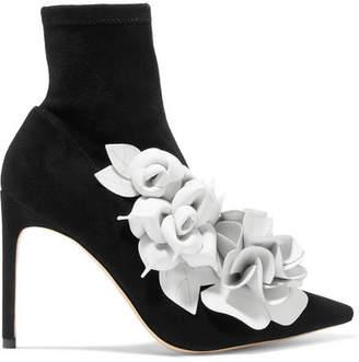 Sophia Webster Jumbo Lilico Leather-appliquéd Suede Ankle Boots - Black