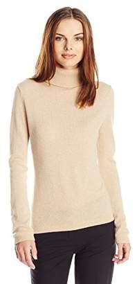Lark & Ro Women's 100% Cashmere Slim-Fit Turtleneck Sweater