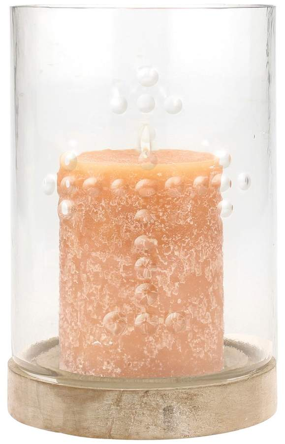 Stonebriar Collection Pressed Glass Cross Pillar Candle Holder