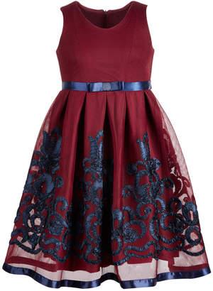 Bonnie Jean Big Girls Embroidered Mesh Dress
