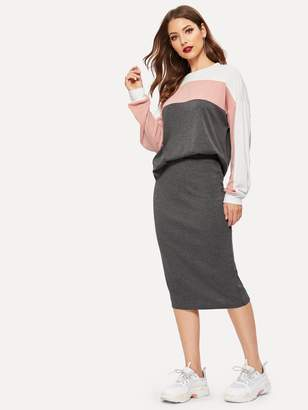 Shein Color Block Pullover & Pencil Skirt Set