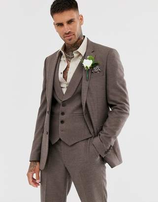 Asos Design DESIGN wedding skinny suit jacket in soft brown twill