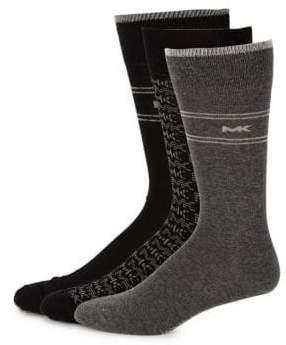 Michael Kors Three-Piece Logo Printed Sock Set
