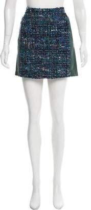 Louis Vuitton Bouclé Knit Leather Skirt