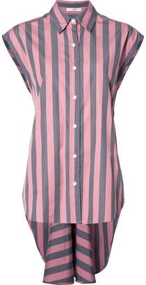 Tome wide stripe sleeveless lace back shirt