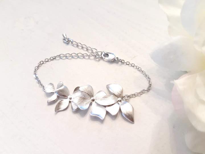 Etsy Bridesmaid Gift , Wild Orchid Flower Bracelet , Orchid Earrings, Flower earrings, Wedding, Mother, S