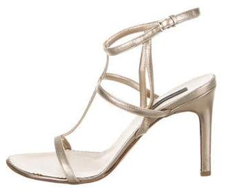 Burberry Metallic Leather T-Strap Sandals