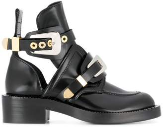 Balenciaga Black Ceinture Leather ankle boots
