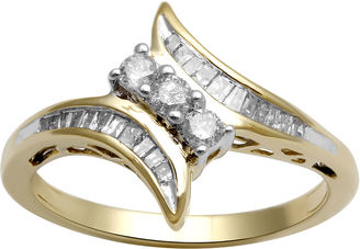 FINE JEWELRY 1/3 CT. T.W. Diamond 10K Yellow Gold 3-Stone Bypass Ring $583.32 thestylecure.com