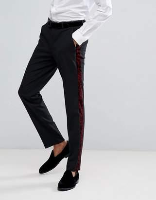 Asos DESIGN Skinny Tuxedo Suit Pants In Red Paisley Velvet