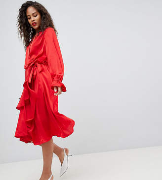 Y.A.S Tall Satin Wrap Dress With Ruffle Skirt