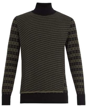 Maison Margiela - Roll Neck Wool Jacquard Sweater - Mens - Khaki