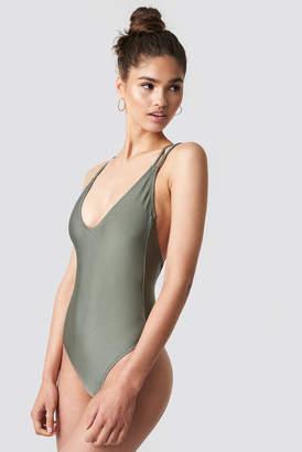 Na Kd Swimwear Shiny Double Cross Strap Swimsuit Khaki Green