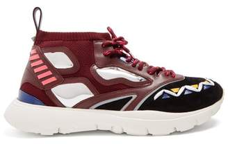 Valentino Heroes Reflex Knitted Trainers - Mens - Burgundy