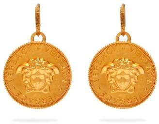 Versace Medusa Coin Brass Earrings - Womens - Gold