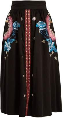 Peacock embroidered cotton midi skirt