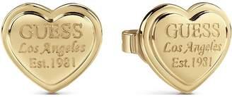GUESS Gold Logo Heart Stud Earrings