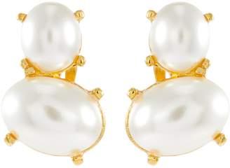 Kenneth Jay Lane Faux pearl drop clip earrings