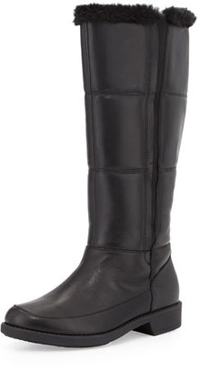 Taryn Rose Abbott Faux-Fur Lined Leather Weather Boot, Black $329 thestylecure.com