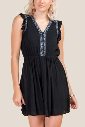 francesca's Tavi Embroidered A-Line Dress - Black