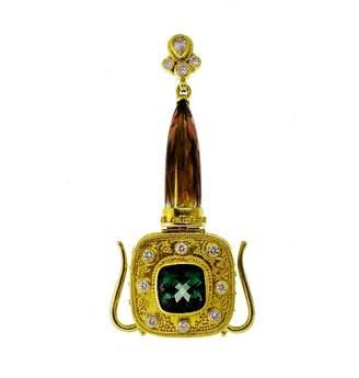 18K & 20K Yellow Gold Green Pink Tourmaline Vintage Diamond Pendant