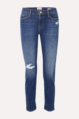 Frame Le Garcon Distressed Slim Boyfriend Jeans - Mid denim