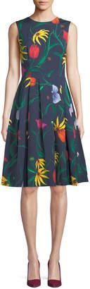 Carolina Herrera Sleeveless Floral-Print Fit-and-Flare Cocktail Dress