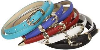 BMC Faux Leather Stud Slash Accents Womens Fashion Skinny Belts - 5 Color Set