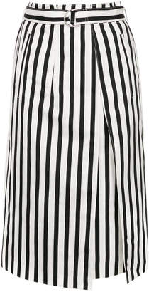 TOMORROWLAND striped pleat front skirt