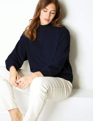 Marks and Spencer Cotton Rich Long Sleeve Sweatshirt