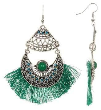 Eye Candy Los Angeles Crystal Detail Fanned Fringe Drop Earrings