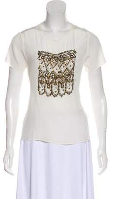 Gryphon Embellished Silk Top