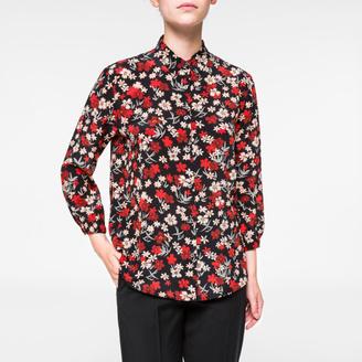 Women's Black Silk 'Large Wild Floral' Print Shirt $595 thestylecure.com