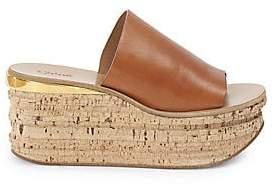 Chloé Women's Cork Leather Platform Wedge Sandals