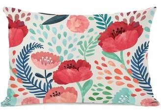 Ebern Designs Osteen Florals Outdoor Lumbar Pillow
