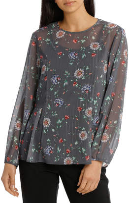 Basque Winter Dahlia Balloon Sleeve Top