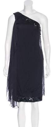 Alberta Ferretti Embellished One-Shoulder Dress