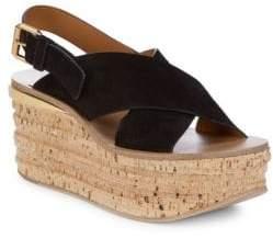 Crisscross Leather Platform Sandals