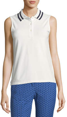Tory Sport Pleated-Collar Sleeveless Polo Top