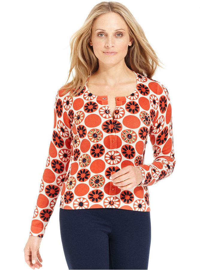 Charter Club Sweater, Long-Sleeve Printed Cardigan
