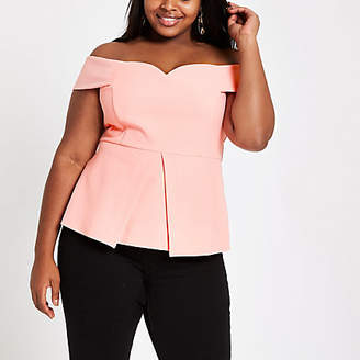 River Island Plus coral structured bardot top