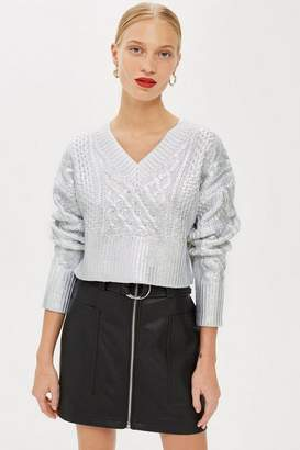 Topshop Foil V-Neck Crop Cable Jumper